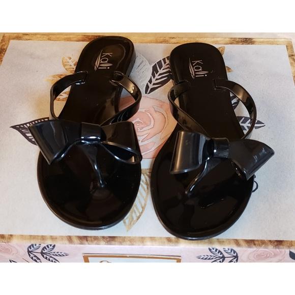 e5dfab0511b Kali Other - KALI Black Jelly Ribbon Bow Flip Flops Sandals
